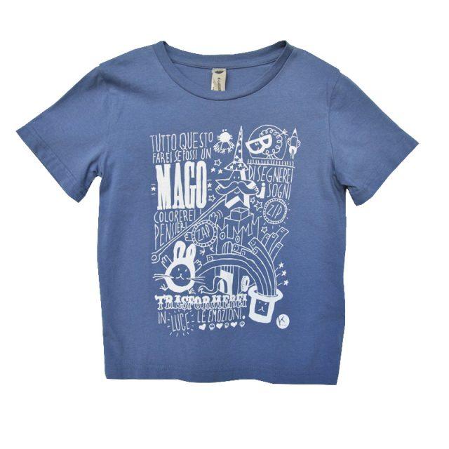 t-shirt bimbo con stampa serigrafica frase mago