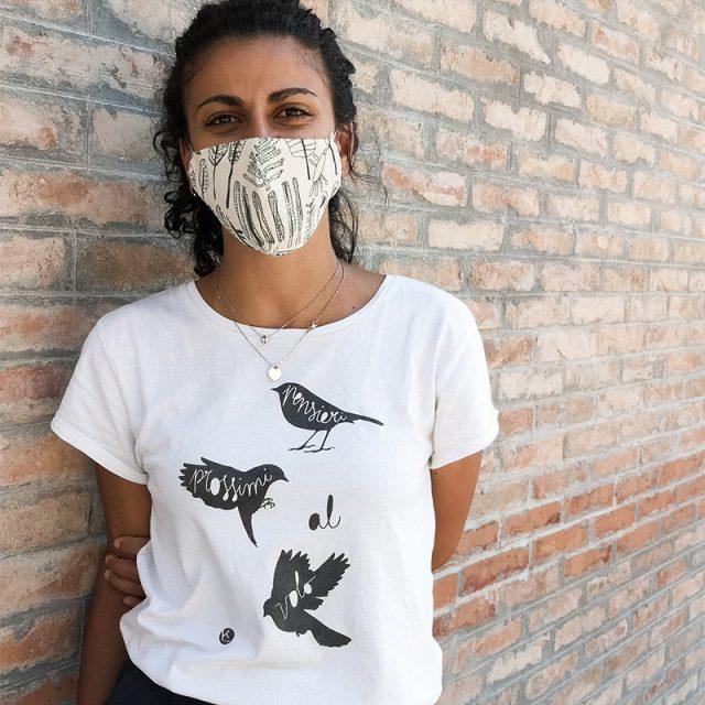 t-shirt pensieri prossimi al volo bianca