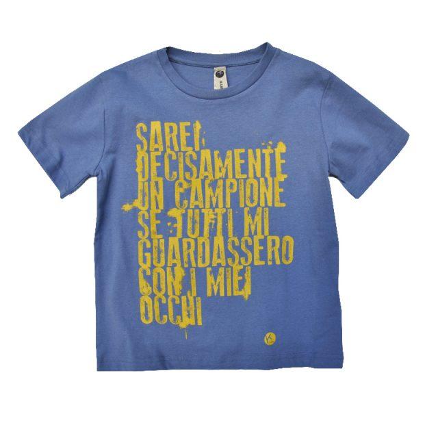 t-shirt bimbo con stampa serigrafica frase campione