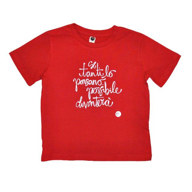 t-shirt bimbo in cotone biologico con stampa serigrafica frase se tanti