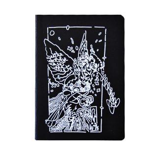 quaderno nero in carta riciclata con stampa serigrafica disegno