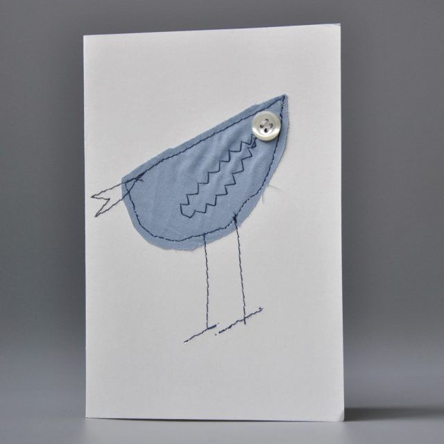 bigliettino uccellino tessuto ricamato