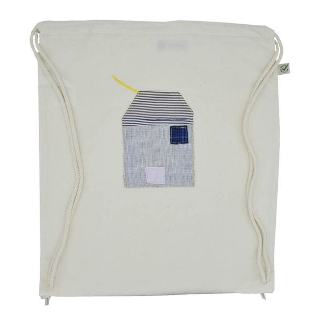 zainetto cotone biologico con inserto in tessuto a forma di casetta