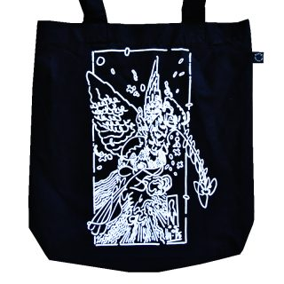 shopper nera in cotone biologico con disegno
