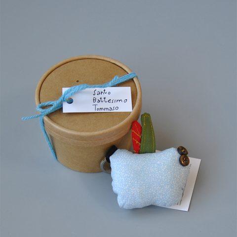bomboniera portachiavi tessuto - scatola tonda